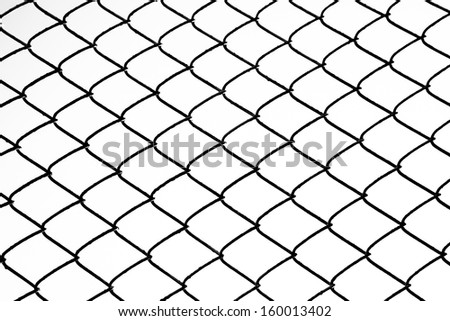 background of iron chain net fence in black and white