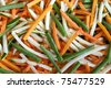 Background of julienne vegetables:  green beans, baby marrows and carrots - stock photo
