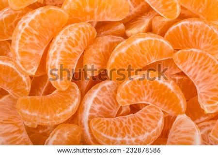 background of mandarin slices - stock photo