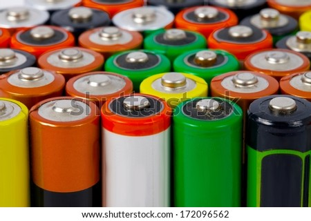 Background of many AA batteries