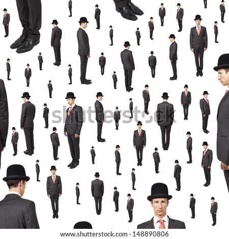 background of many gentlemen looking in various direction - stock photo