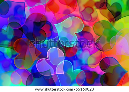 background of many hearts of different colors and sizes
