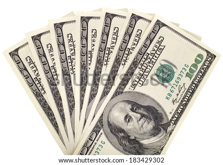 background of many mass currency note  US dollars, close up on white background, isolated - stock photo