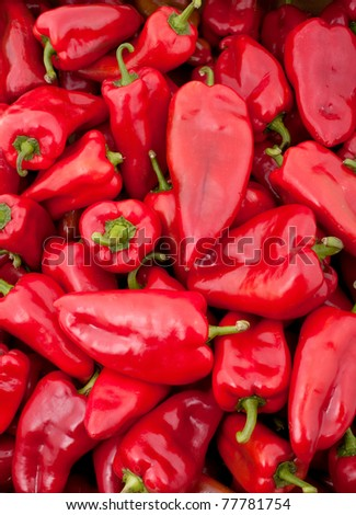 Background of many red peppers - stock photo