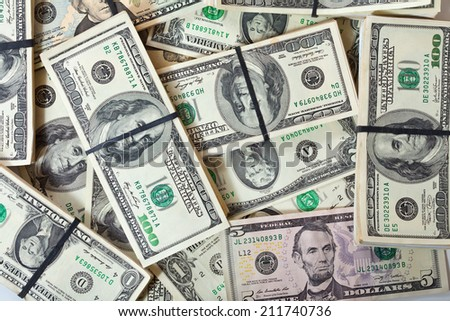 background of many US dollars banknotes