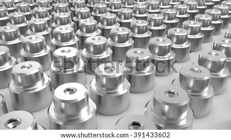 Background of metal parts. operator inspection dimension of cnc turning parts. high precision automotive machining mold - stock photo