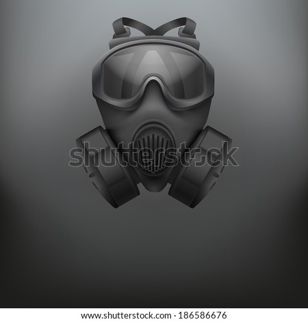 Background of Military black gas mask respirator. Rubber army symbol of defense and protect. - stock photo