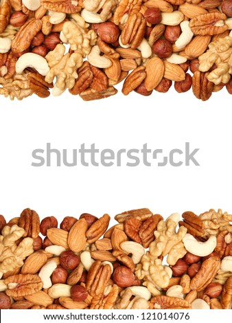 background of mixed nuts - pecans, hazelnuts, walnuts, cashews, almonds, pine nuts, pistachios, isolated in the middle, size 4 to 3 - stock photo