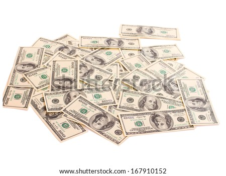 Background of  Money Cash Dollars for business closeup isolated.   Concept of Money. Isolated, Space for Text