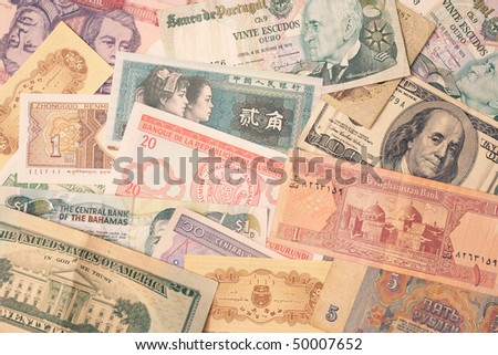 Background of money currency cash from around the world - stock photo