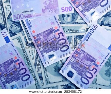 background of money dollars and euro - stock photo