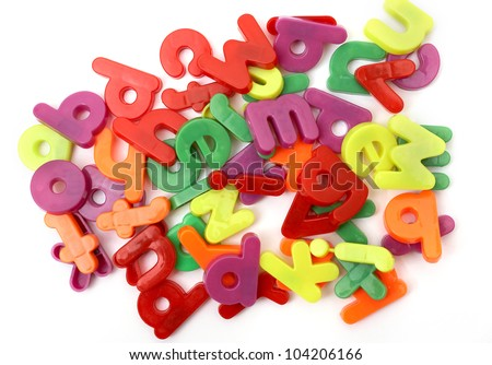 Background of multicolored magnetic letters