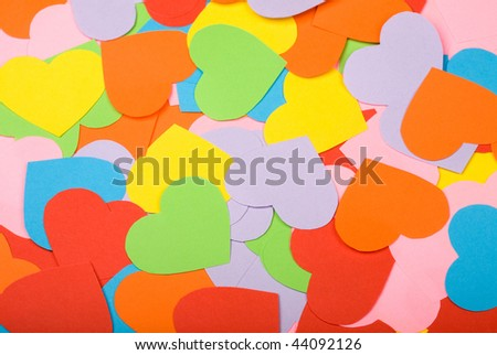 Background of multicolored paper hearts