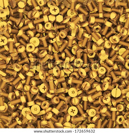 Background of multiple gold bolts and nuts. High resolution 3D image - stock photo