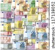 Background of neatly arranged Euro banknotes - stock photo