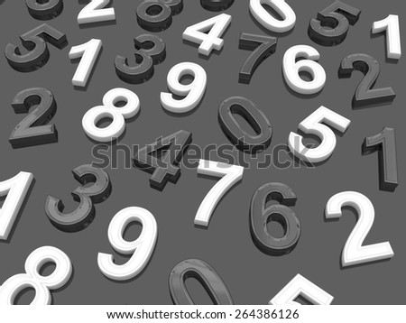 Background of numbers. from zero to nine. - stock photo