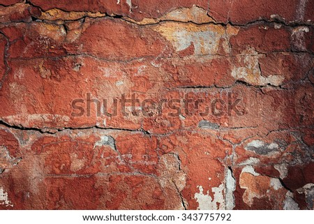 Background of old colorful peeling paint wall. Pattern of rustic grunge material.Texture