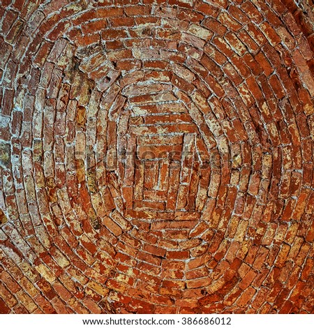 background of old red brick circular masonry