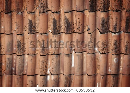 Background of old roof tiles - stock photo