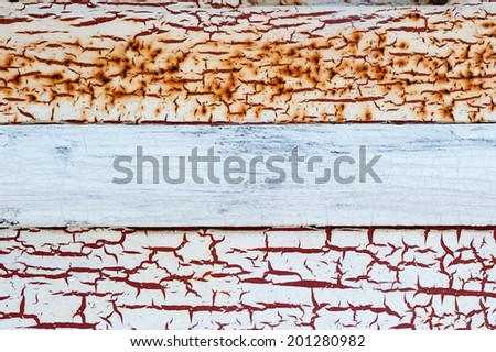 Background of old rusty metal with cracks are in a paint. Grunge texture. - stock photo