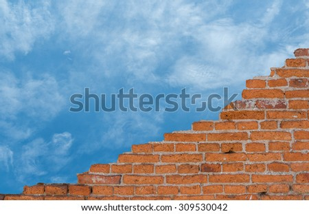 Background of old vintage brick wall, Wallpaper Pattern - stock photo