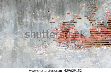 Background of old vintage brick wall with concrete,Weathered texture of racked concrete vintage brick wall background, stained old dark brown and red brick wall background, grungy rusty - stock photo