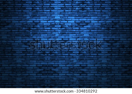 Background of old vintage dark blue brick wall. Blue brick wall .Street light dark blue brick wall.Blue brick wall. In Tunnel dark blue brick wall. Old school style blue brick wall.Blue brick wall. - stock photo