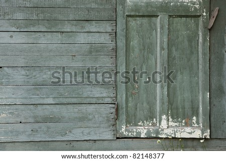 Background of old  wall with closed door \Background of old  wall with door - stock photo