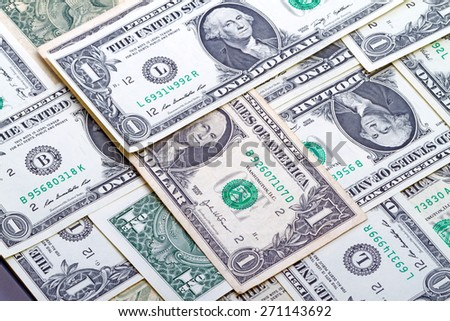 Background of one dollar banknotes close-up - stock photo