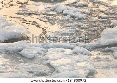 Background of pack ice floe in the sea - stock photo