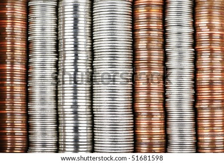 Background of penny nickel dime and quarter stacked coins - stock photo