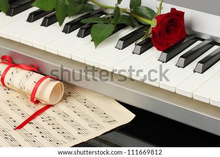 background of piano keyboard - stock photo