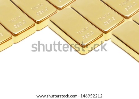 background of pile of gold bar  - stock photo
