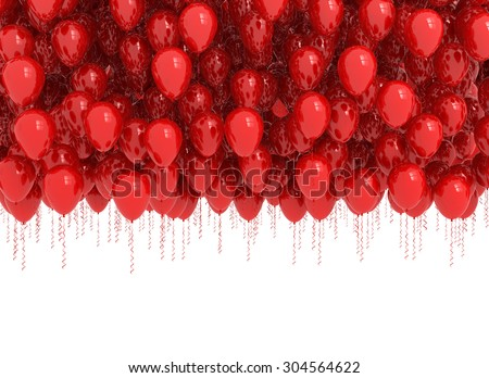 Background of red balloons isolated on white  - stock photo