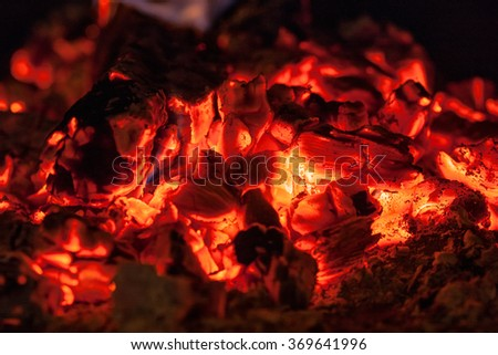 background of red hot coals close up