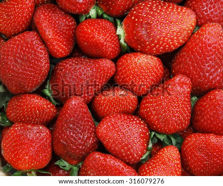 background of red strawberries - stock photo
