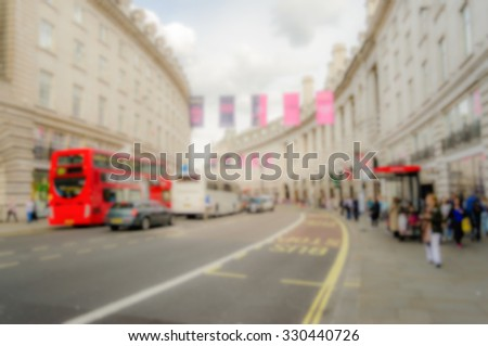Background of Regent Street in London, UK. Intentionally blurred post production. - stock photo
