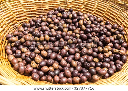 Background of ripe fresh olives in Greece - stock photo