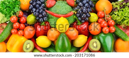 background of ripe fruits and vegetables - stock photo