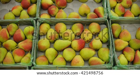 background of ripe juicy pears - stock photo
