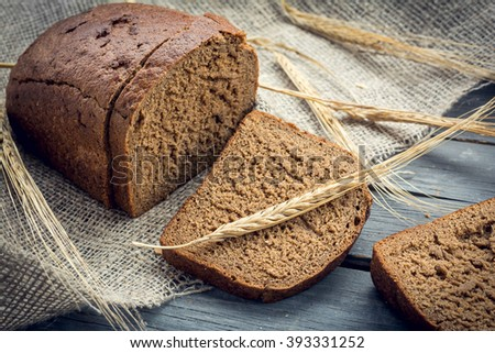 Background of rye bread with barley ears