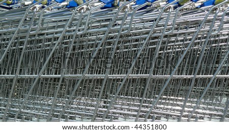 background of shopping trolleys/carts - stock photo