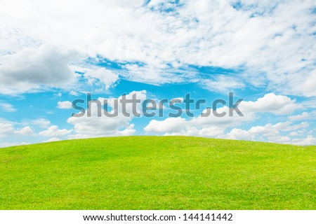 Background of sky and grass - stock photo