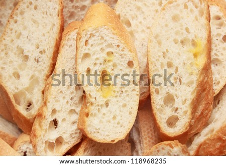 background of slice french baguette
