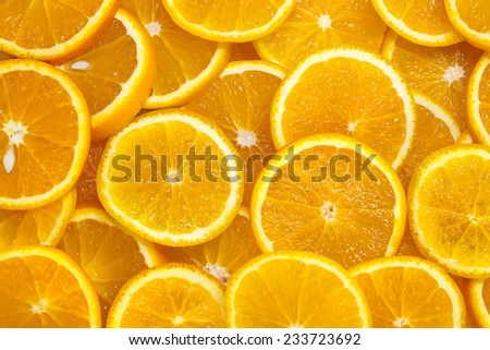 background of sliced oranges - stock photo