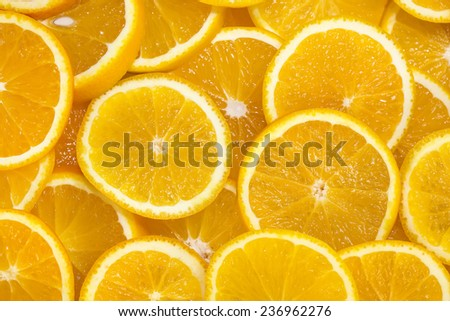 background of sliced oranges tropical - stock photo