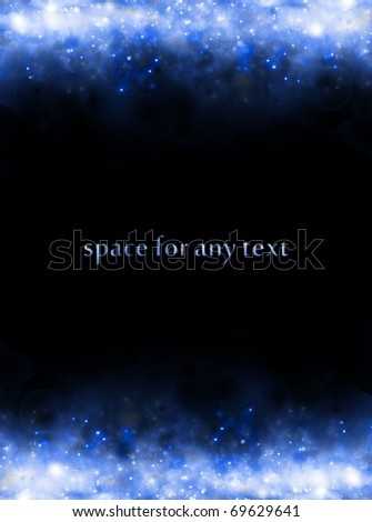 Background of starfields above and below with space for text at center - stock photo