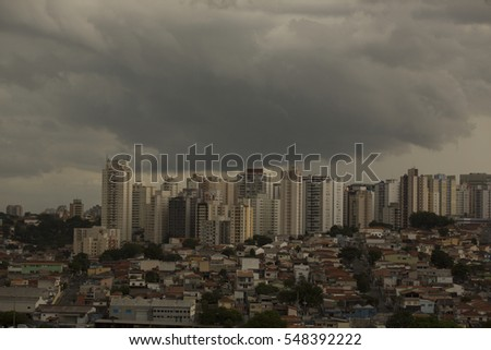 Background of storm clouds before a thunder-storm in Sao Paulo city
