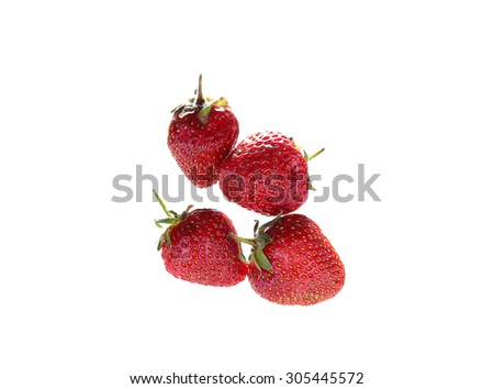background of strawberries in two rows in isolation top view - stock photo