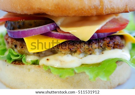 Background of tasty Burger with pork, tomato, onion, eggs, cucumber